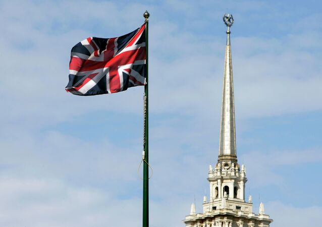 British national flag flutters in front of the British Embassy is seen in downtown Moscow