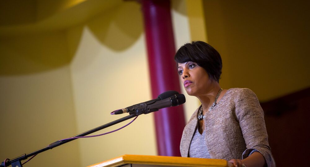 Baltimore mayor Stephanie Rawlings-Blake speaks at a church in Baltimore, Maryland