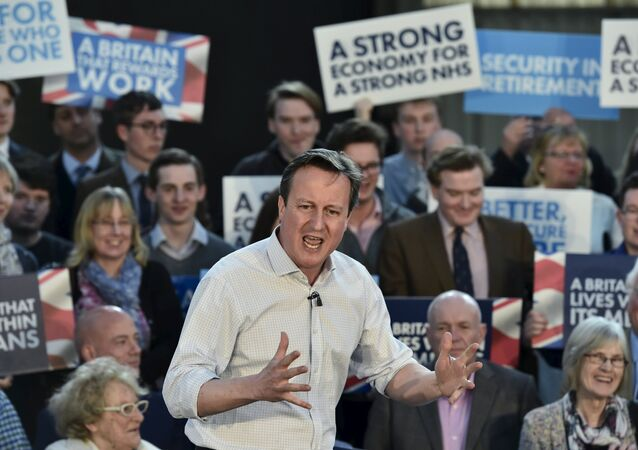 Britain's Prime Minister David Cameron delivers a speech to Conservative Party supporters and activists during an election campaign event in Wadebridge, south-western England