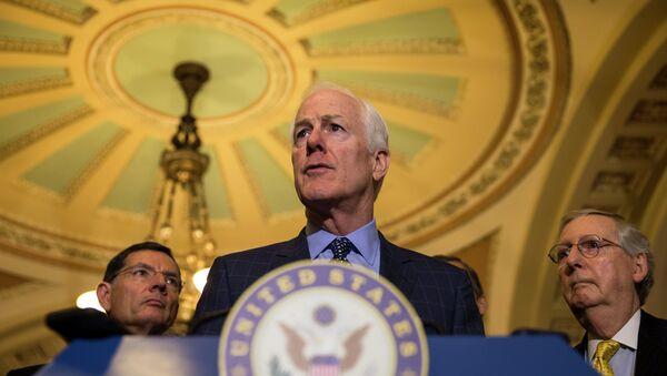 Senate Majority Whip John Cornyn of Texas, accompanied by Sen. John Barrasso, R-Wyo., and Senate Majority Leader Mitch McConnell,of Ky., speaks to reporters on Capitol Hill in Washington - Sputnik International