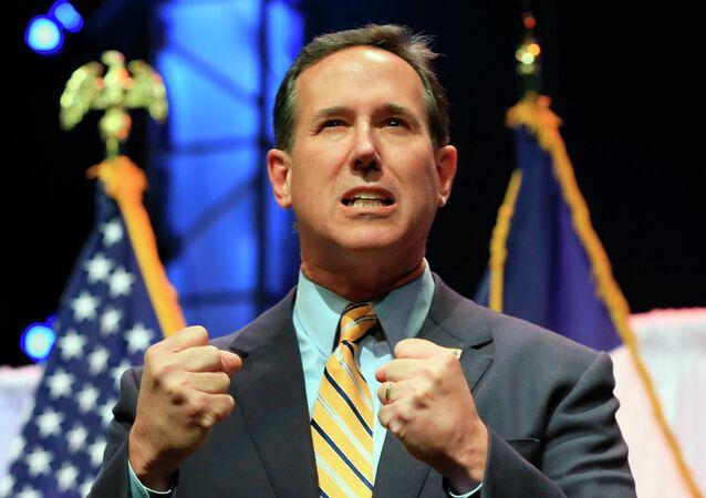 Former Pennsylvania Sen. Rick Santorum speaks at the Iowa Faith & Freedom 15th Annual Spring Kick Off, in Waukee, Iowa, Saturday, April 25, 2015