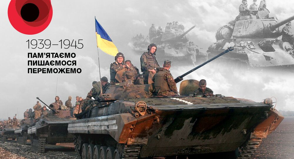 A new propaganda campaign by Ukrainian information warriors features a series of posters attempting to compare the heroism of Ukrainian veterans of the Great Patriotic with today's military operation in eastern Ukraine.