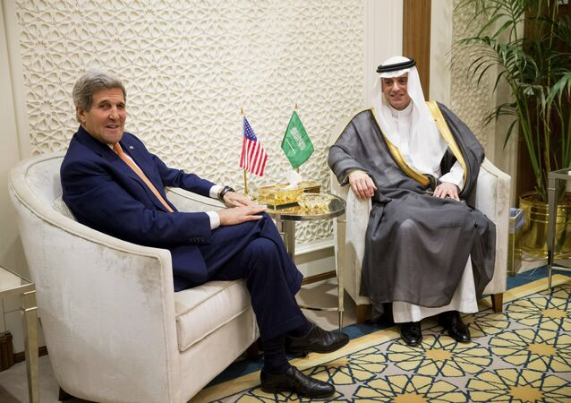 US Secretary of State John Kerry, left, meets with Saudi Foreign Minister Adel al-Jubeir, right, at the Saudi Ministry of Foreign Affairs, in Riyadh, Saudi Arabia, Thursday, May 7, 2015