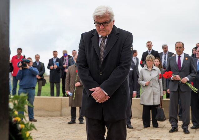 German Foreign Minister Frank-Walter Steinmeier lays wreath at a cemetery where German soldiers killed during World War II are buried, near Volgograd, Russia, May 7, 2015