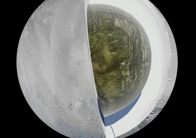 This illustration shows the possible interior of the Saturn moon Enceladus.