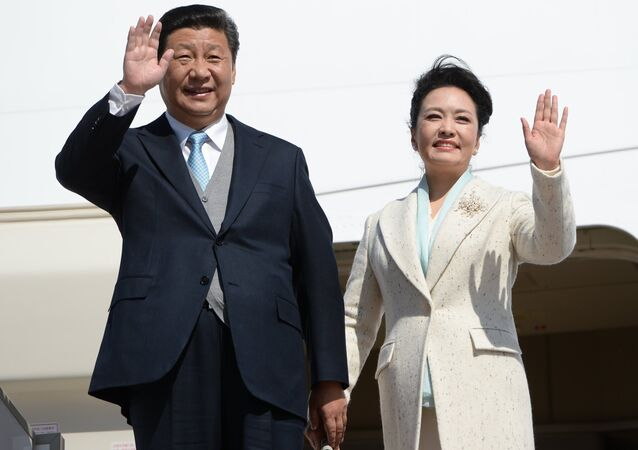 Chairman of People's Republic of China Xi Jinping with the spouse, the 70 anniversaries of the Victory which arrived to Moscow for participation in celebration in the Great Patriotic War