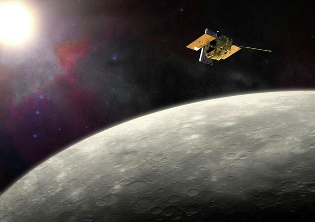 This artist's rendering provided by NASA shows the MErcury Surface, Space ENvironment, GEochemistry, and Ranging (MESSENGER) spacecraft around Mercury. On Thursday, April 16, 2015