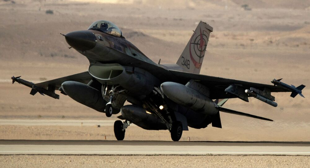 An Israeli F-16I fighter jet lands during the Blue Flag multinational air defense exercise that is organized from the Ovda air force base over the Negev Desert. File photo