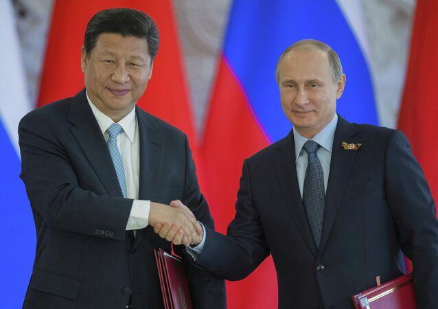 Russian President Vladimir Putin meets with Chinese President Xi Jinping