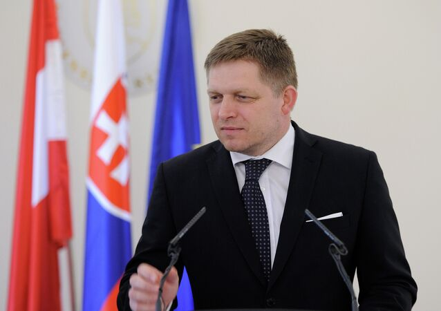 Slovak Prime Minister Robert Fico speaks during a joint press conference with Austria's Chancellor after their official meeting in Bratislava