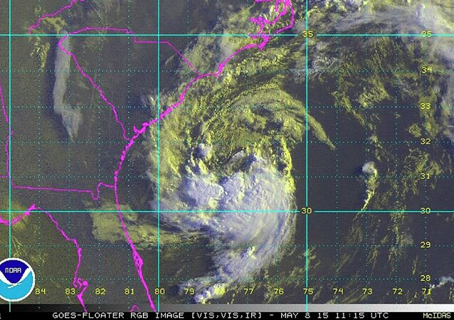 Sub-tropical storm Ana, located about 170 miles (275 kms) south-southeast of Myrtle Beach, South Carolina, United States, is seen in a NOAA GOES satellite image taken at 07:15 am EDT (11:15 GMT) May 8, 2015
