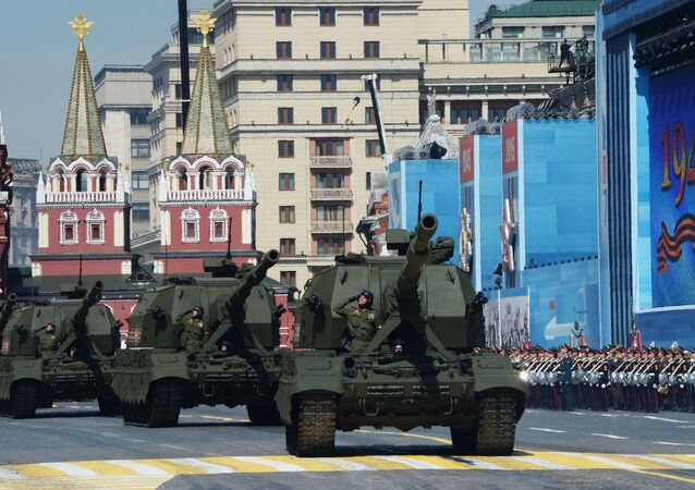 The Koalition-SV Self-propelled Artillery Installation (SPAI) during military parade in commemoration of the 70 anniversary of the Victory in the Great Patriotic War of 1941-1945