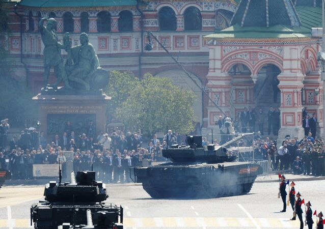 A T-14 tank with the Armata Universal Combat Platform at the military parade