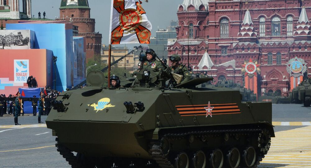 A BTR-MDM Rakushka (Shell) airborne armored personnel carrier at the military parade