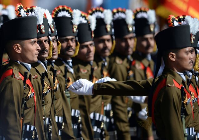 Soldiers of the Indian Armed Forces' grenadier regiment at the military parade