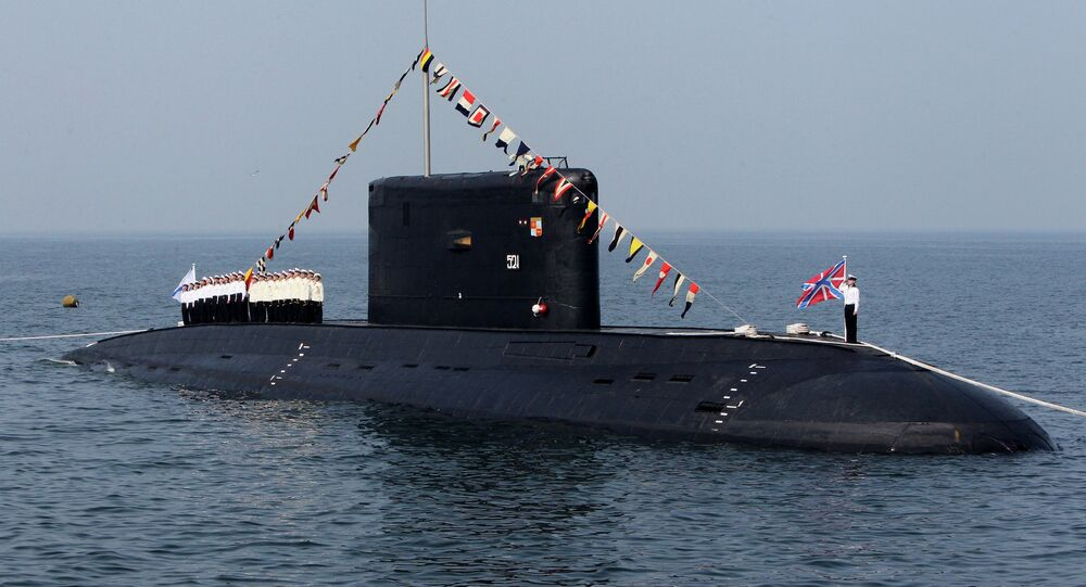 A diesel-powered Varshavyanka-class submarine during the celebrations of the Russian Navy Day in Vladivostok