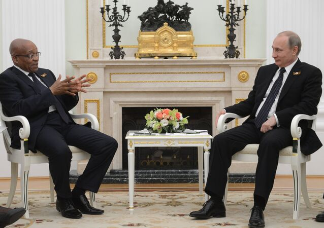 Russian President Vladimir Putin meets with President of South Africa Jacob Zuma