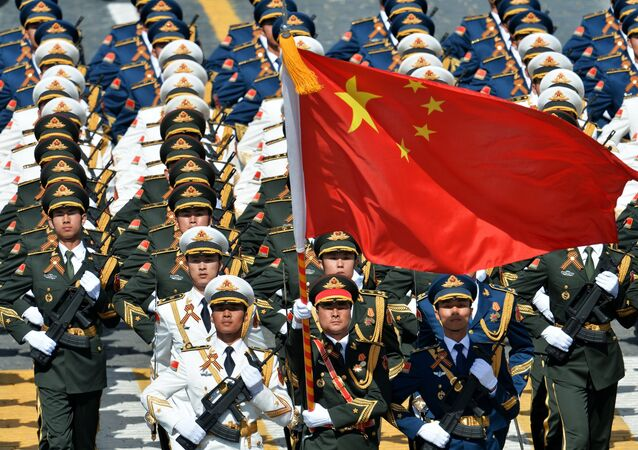 Soldiers of the People's Liberation Army at the military parade to mark the 70th anniversary of Victory in the 1941-1945 Great Patriotic War