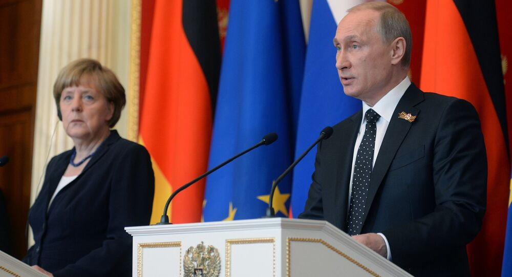 Russian President Vladimir Putin during a joint press conference with German Chancellor Angela Merkel in Moscow on May 10, 2015.