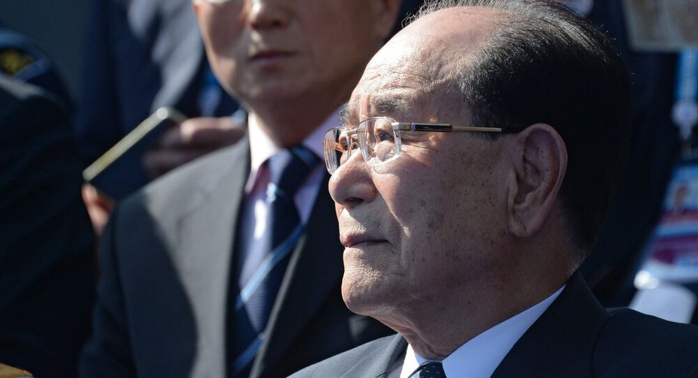 Kim Yong-nam, Chairman of the Presidium of the Supreme People's Assembly of the Democratic People's Republic of Korea, at the military parade to mark the 70th anniversary of Victory in the 1941-1945 Great Patriotic War
