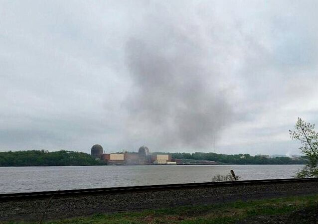 Smoke is seen over the Indian Point nuclear power plant in New York, in this handout photo provided by Gustavus Gricius taken May 9, 2015
