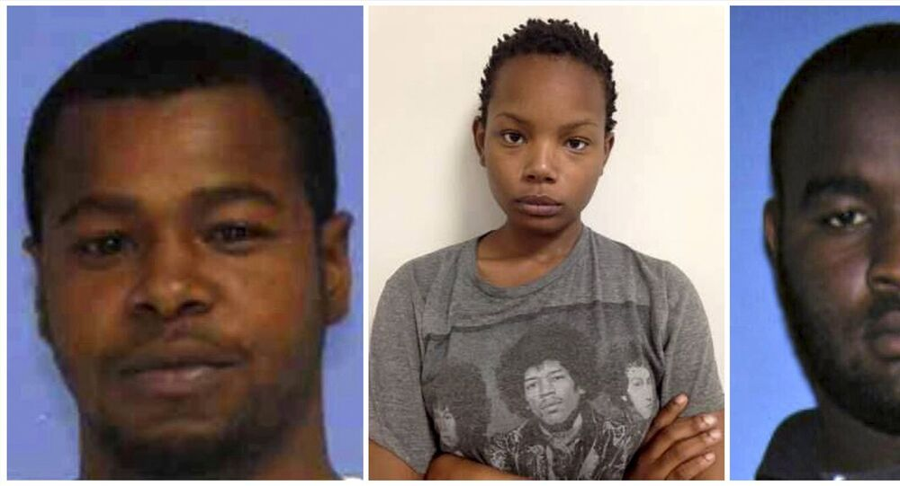 (L-R) Marvin Banks, Joanie Calloway and Curtis Banks are shown in a combo of three undated police handout photos provided by the Hattiesburg Police Department in Hattiesburg, Mississippi May 10, 2015