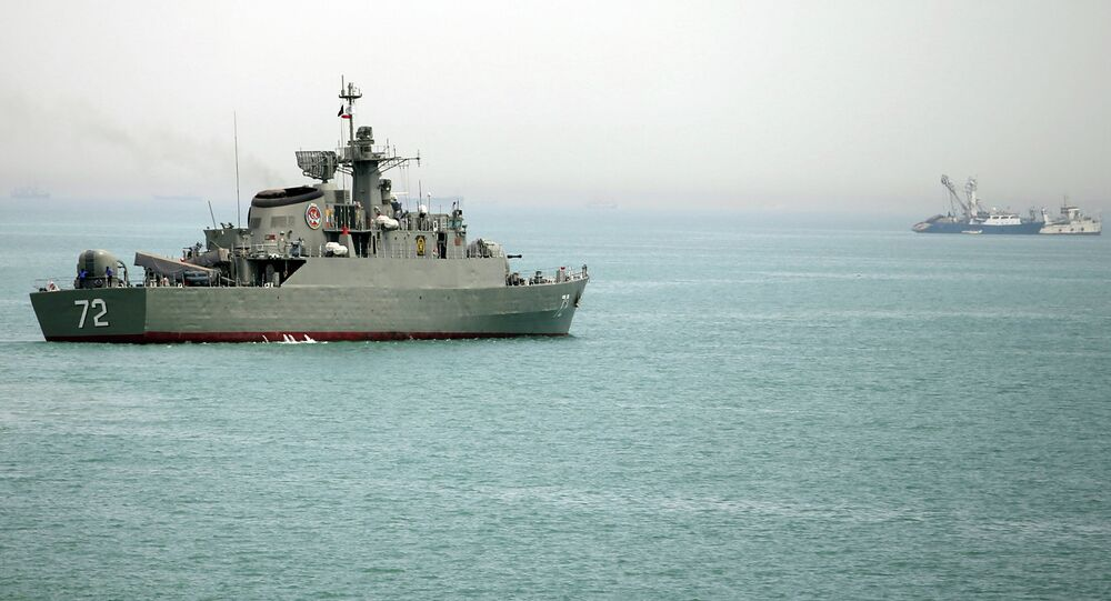 Iranian warship Alborz at the Strait of Hormuz