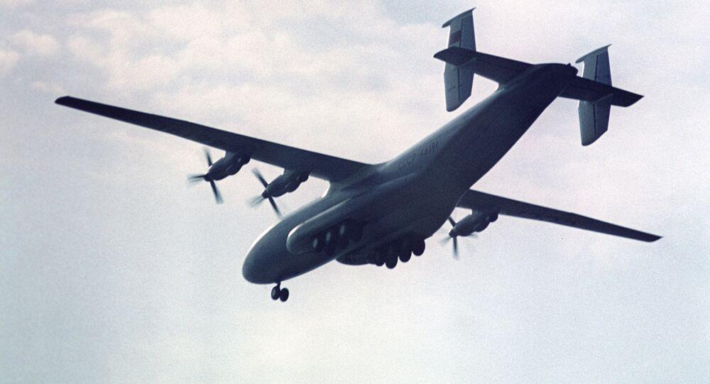 An Antonov An-22 strategic airlifter