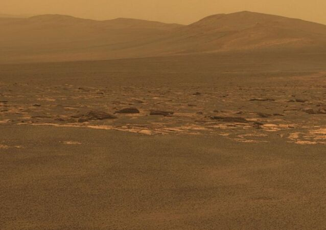 Western edge of Endeavour Crater on Mars. Photo by Opportunity Rover