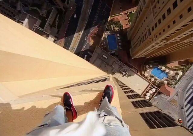 Stuntman Leaps Across Skyscraper Edges