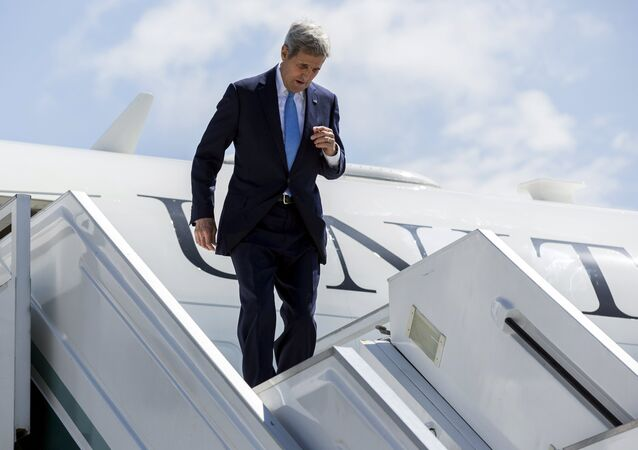 US Secretary of State John Kerry steps from his airplane as he arrives in Sochi, Russia May 12, 2015