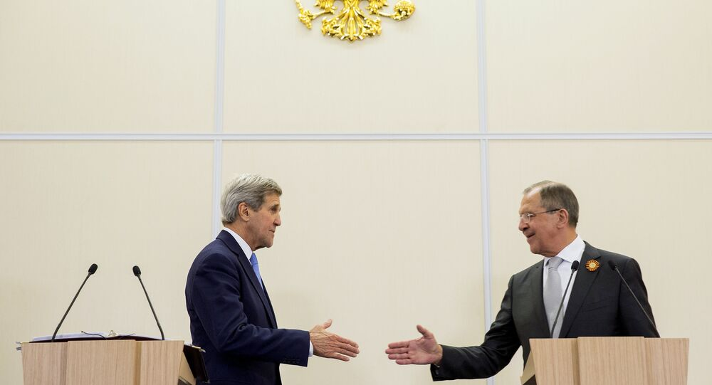 U.S. Secretary of State John Kerry shakes hands with Russian Foreign Secretary Sergey Lavrov after a news conference at the presidential residence of Bocharov Ruchey in Sochi, Russia May 12, 2015
