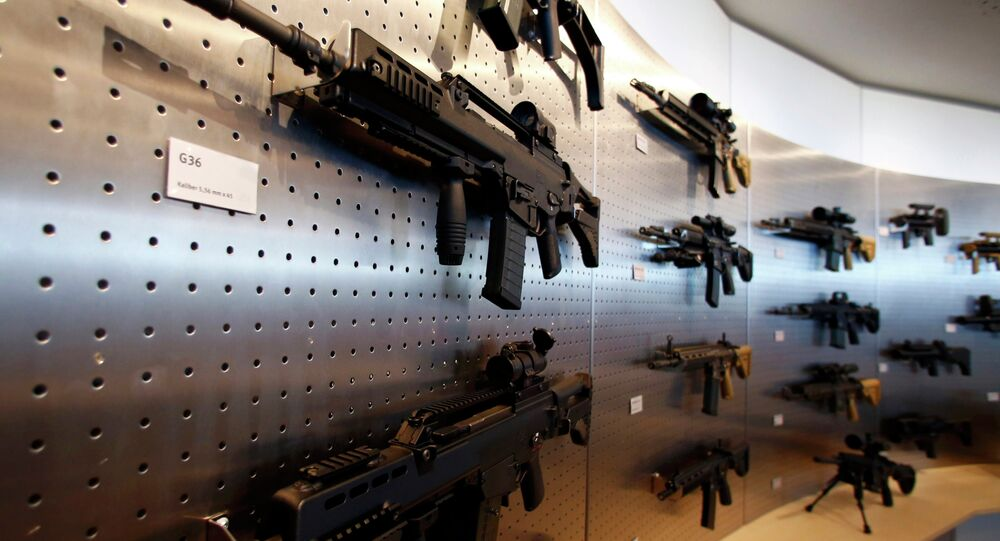 HK G 36 guns are pictured at a show room of arms manufacturer Heckler & Koch 's company headquarters in Oberndorf, Germany.