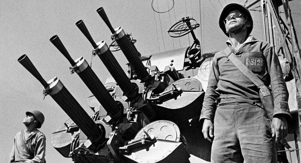 Black Sea fleet anti-aircraft gunners preparing to repel an air attack during the second world war