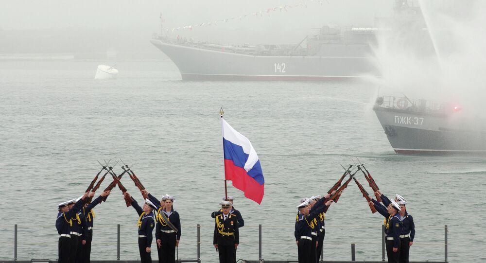 Navy men during the celebration of the Russian Black Sea Fleet's 230th anniversary in Sevastopol