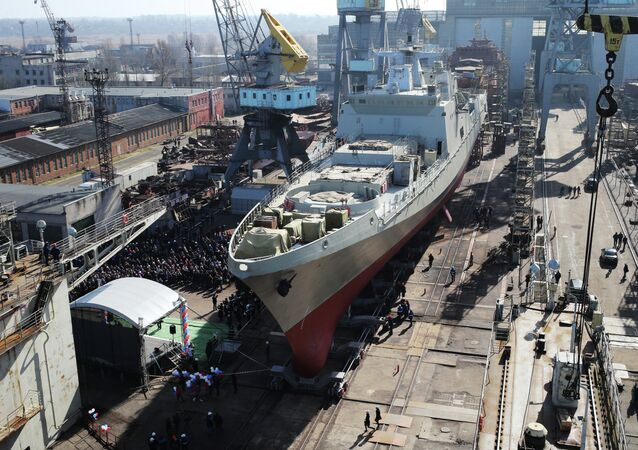 The Admiral Grigorovich frigate, designed for the Russian Black Sea Fleet, before a launching ceremony in the shipyards of the Yantar Baltic shipbuilding plant