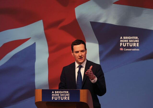 Britain's Chancellor of the Exchequer George Osborne speaks at the Conservative party manifesto launch in Swindon, England