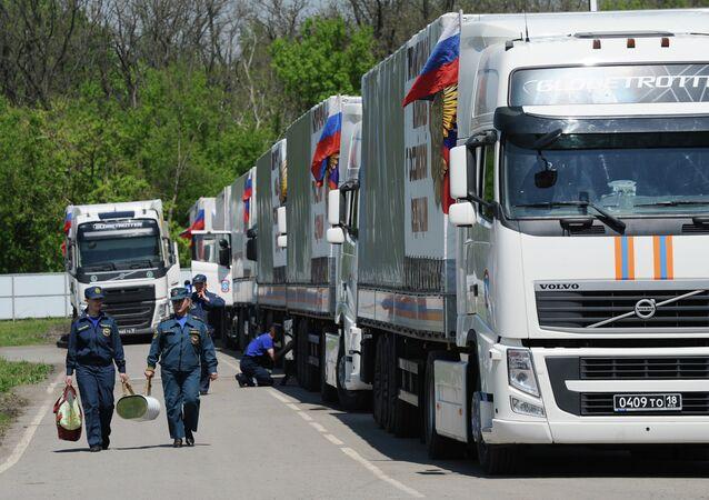 Humanitarian aid convoy in Rostov Region prepares to depart for southeastern Ukraine