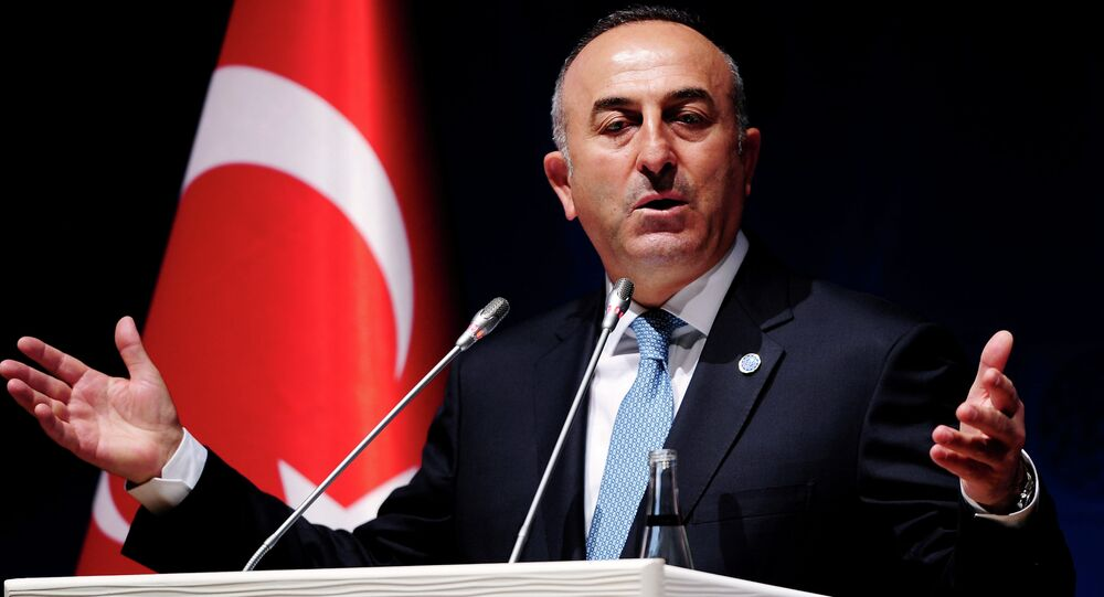 Turkish Foreign Minister Mevlut Cavusoglu gestures during a press conference