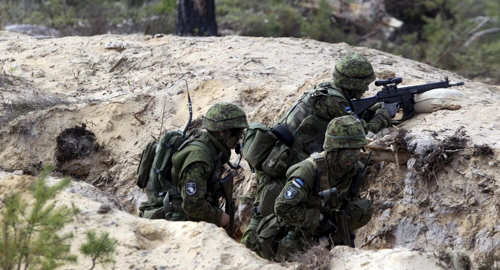 Estonian soldiers take part in NATO military exercise Hedgehog 2015 at the Tapa training range in Estonia May 12, 2015