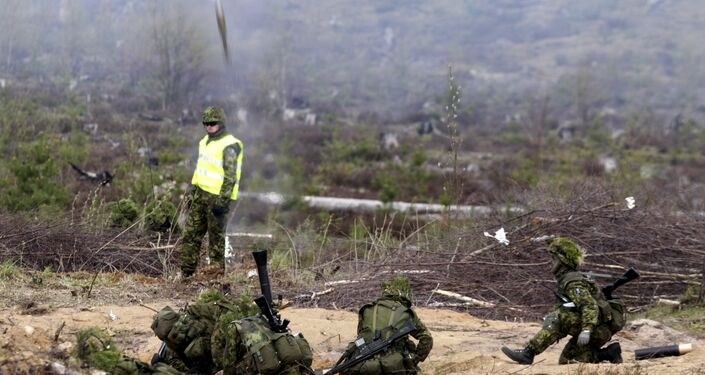 Estonian army soldiers launch grenade during the NATO military exercise Hedgehog 2015 at the Tapa training range in Estonia May 12, 2015
