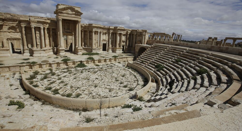 A file picture taken on March 14, 2014 shows a partial view of the theatre at the ancient oasis city of Palmyra, 215 kilometres northeast of Damascus. Islamic State group fighters advanced to the gates of ancient Palmyra on May 14, 2015