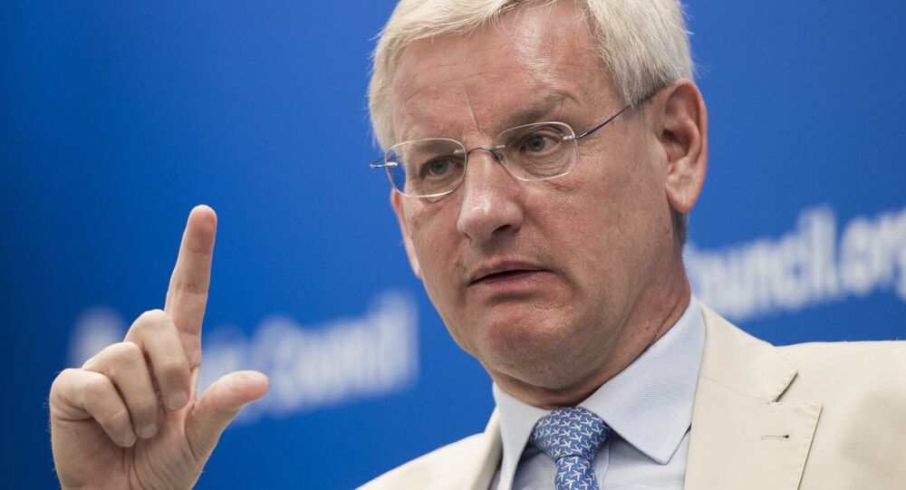 Swedish Minister of Foreign Affairs Carl Bildt speaks about European relations with Russia in July 2014