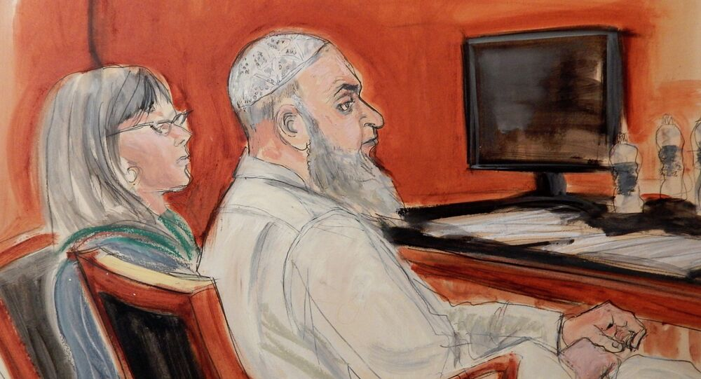 In this Jan. 20, 2015, file courtroom sketch, Khaled al-Fawwaz, right, a defendant in the 1998 bombings of the U.S. embassies in Kenya and Tanzania that killed 224 people, is seated next to his defense attorney, Barbara O'Connor, during jury selection in Manhattan Federal Court