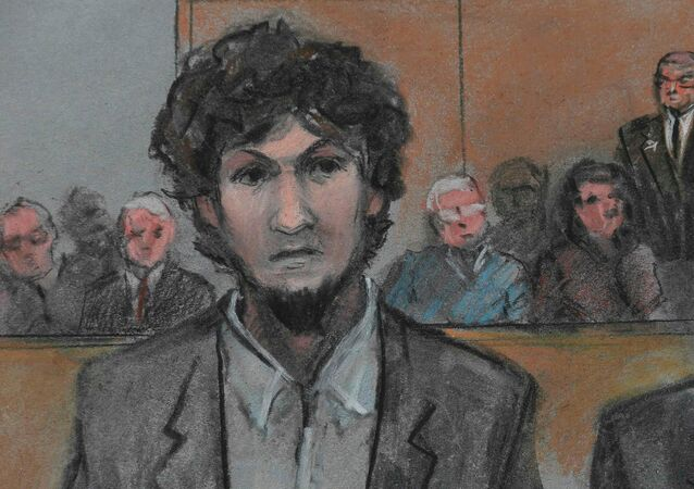 Boston Marathon bomber Dzhokhar Tsarnaev is shown in a courtroom sketch after he is sentenced at the federal courthouse in Boston, Massachusetts May 15, 2015