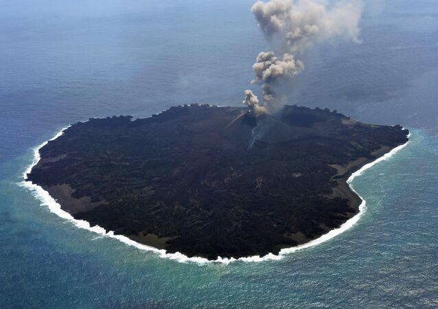 The newly created Nishinoshima island at the Ogasawara island chain, 1,000 kilometres south of Tokyo