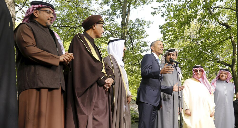 U.S. President Barack Obama speaks while hosting the six-nation Gulf Cooperation Council (GCC) at Camp David in Maryland May 14, 2015