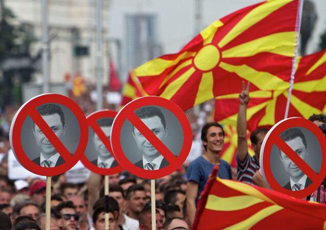 Macedonian protester