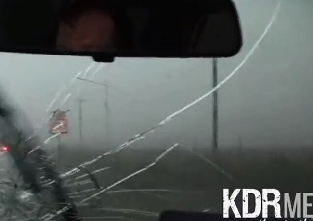 Violent Tornado Hail Destroys Car