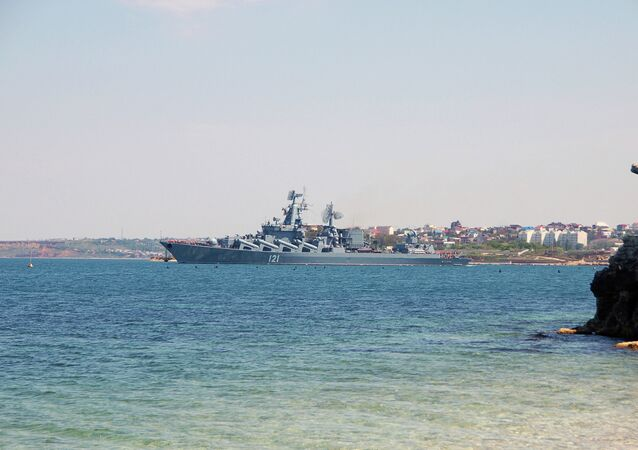 The Moskva nuclear missile cruiser, the flagship of the Black Sea Fleet, leaves Sevastopol to take part in the Russian-Chinese Joint Sea-2015 drills in the Mediterranean.